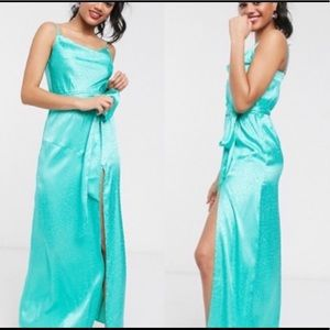 ASOS aqua blue slip dress animal print
